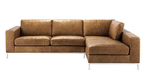 canapé d 39 angle vintage 4 places en cuir camel
