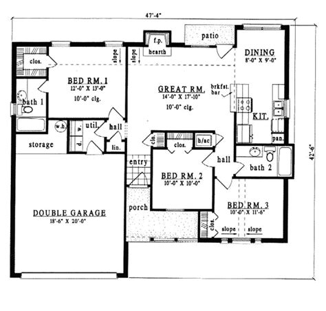 One Story Style House Plan Number 79089 with 3 Bed 2 Bath