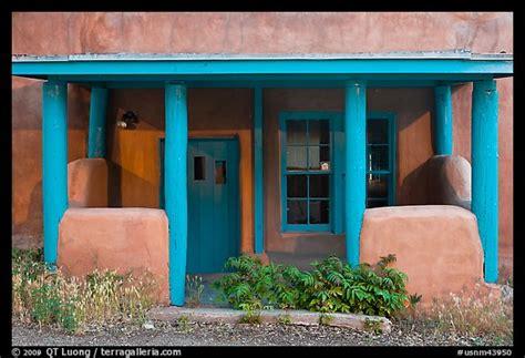 Blue And Adobe House Porch. Santa Fe, New
