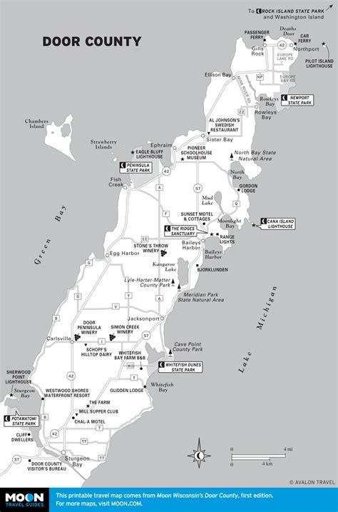 door county wisconsin map peninsula state park in door county moon travel guides