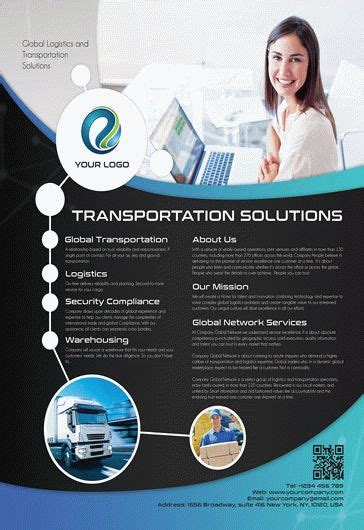 transportation solutions flyer psd template