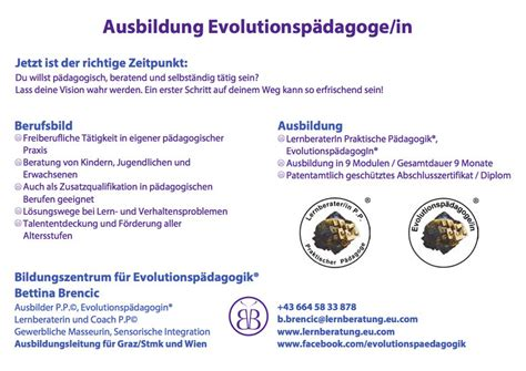 Evolutionspädagogik Bettina Brencic  Lernberatung Bettina
