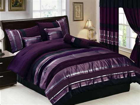 7 pcs purple silver stripes comforter set bed in a bag