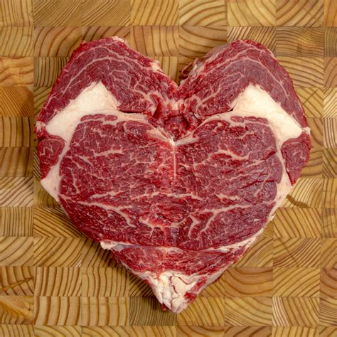 heart shaped organic rib eye steak organic beef