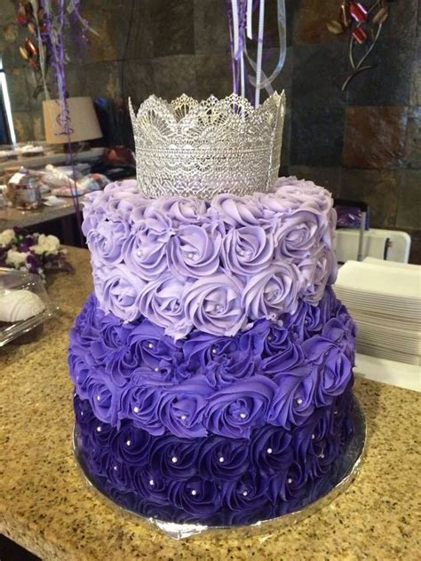Purple Cake Decorating Ideas - purple ombre rosette cake with silver lace crown the
