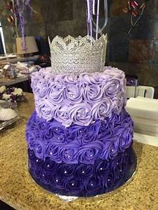 Purple ombre rosette cake with silver lace crown | The ...