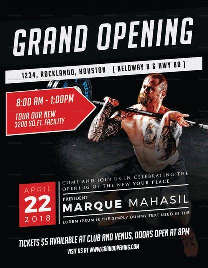 fitness gym grand opening flyer template grand opening