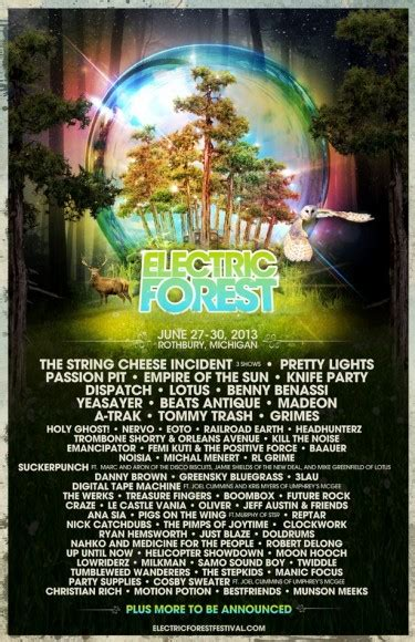 Electric Forest Showers - electric forest festival announces 2013 lineup including