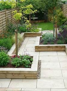 Garden Design  Minimalist Garden Design With Ceramic Floor And Wooden Using As Foundation
