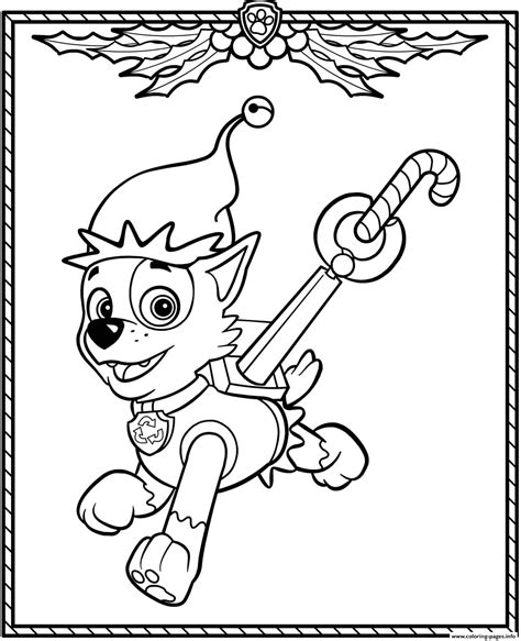 Paw Patrol Holiday Christmas Rocky Coloring Pages Printable