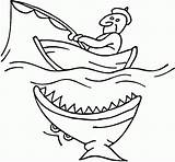 Boat Fishing Shark Coloring Pages Colouring Printable Boats Fish Near Boy Drawing Attacking Row Clipart Funny Print Fisherman Speed Speedboat sketch template