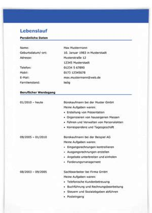Lebenslauf Erstellen Muster by Kostenlose Lebenslauf Muster Vorlagen F 252 R Eine