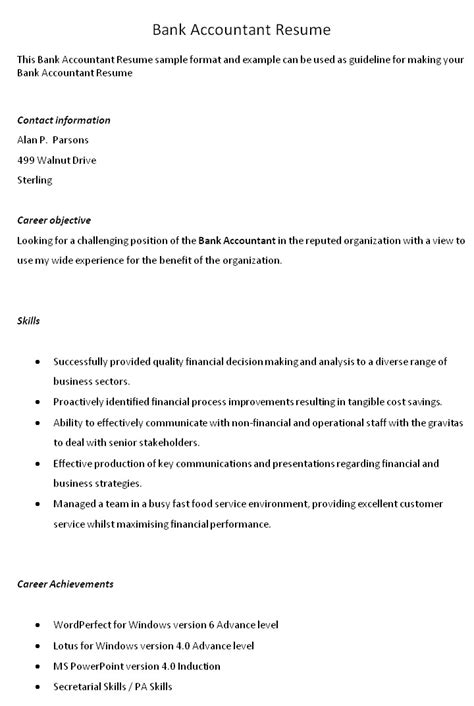 Bank Accountant Resume investment 1 page cv investment banking
