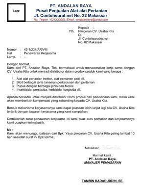 Contoh Surat Promosi Penjualan Barang Elektronik by Contoh Surat Penawaran Kerja Sama Penyaluran Produk File
