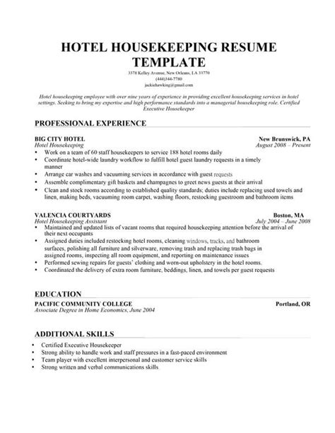 downloadable hotel housekeeping resume template and sle