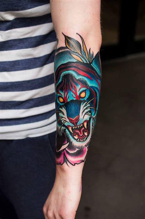 blue tiger tattoo  arm