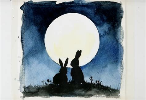 watercolor painting ideas painting bunny silhouettes