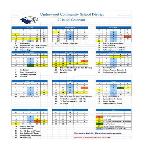underwood community schools school calendar