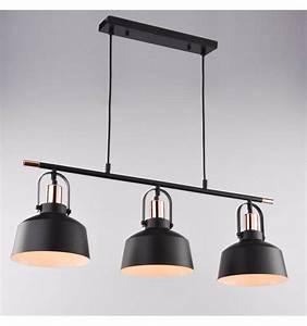 Suspension Luminaire Industriel : suspension loft industrielle m tal noir 3 abat jours e27 musso ~ Teatrodelosmanantiales.com Idées de Décoration