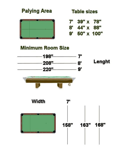 standard bar pool table size pool table room size