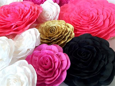 The colors and affordable options lets get started. Large Paper flowers wall decor pink gold White black kate baby bridal shower spade party ...