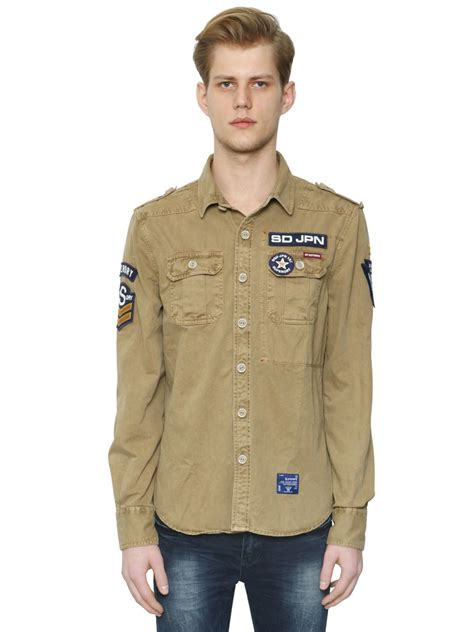 lyst superdry cotton drill army shirt  natural  men