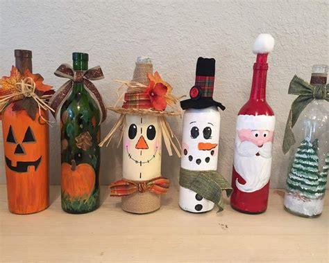 creative     box painted wine bottles