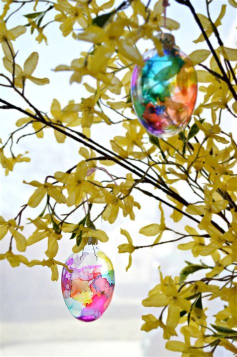 hometalk repurposed glass ornaments  stained easter eggs