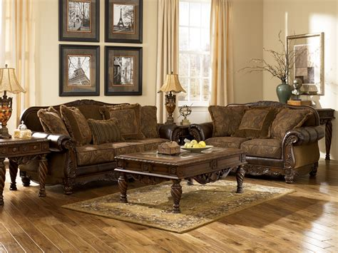 living room l sets ashley furniture fresco 63100 durablend antique living