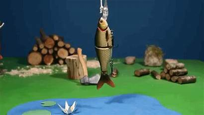 Stop Motion Animation Fishing Clay Going Gone