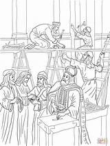 Coloring Temple Joash Bible Repairs Jesus Colorare Bibbia Kings King Crafts Preschool Onderkoning Kleurplaat Jozef Building Children Tempio Disegni Supercoloring sketch template