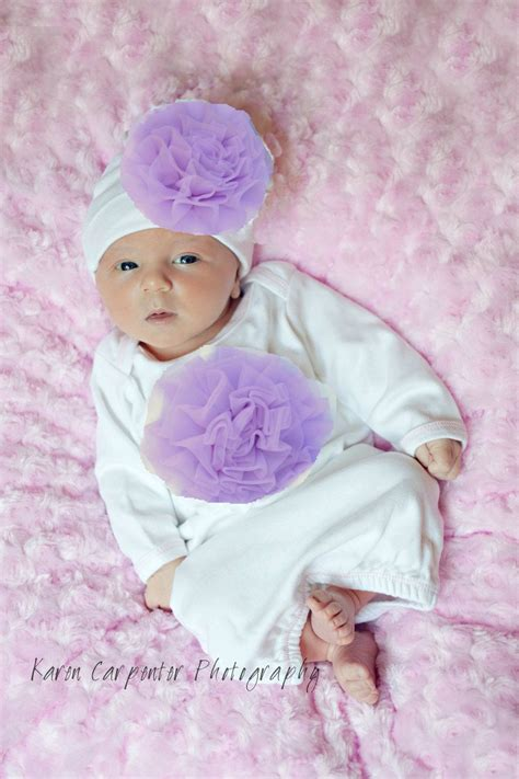 newborn baby girl clothes white  lavender outfit