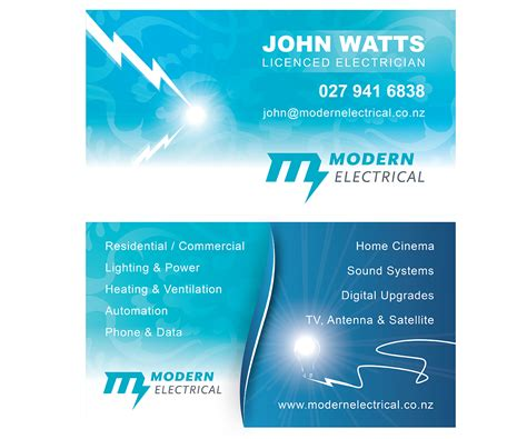 modern bold electrician business card designs