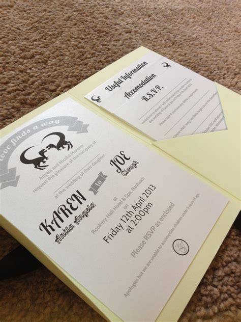 diy wedding invitation pocketfold my diy dino wedding wedding invitations well i guess