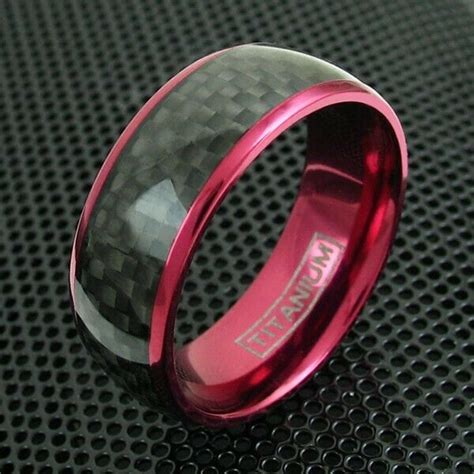 8mm wine titanium s ring black carbon fiber wedding band jewelry ebay