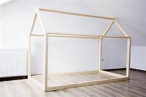 BED HOUSE FRAME SCANDI DESIGN FOR KIDS WITHOUT BASE