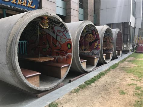 restaurant   house  concrete sewer pipes