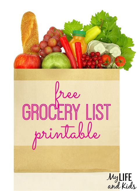 grocery list printable  life  kids