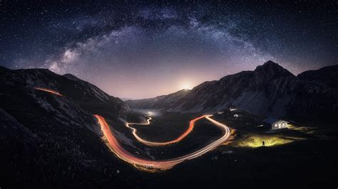 Nature Landscape Milky Way Mountain Road Starry Night