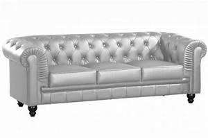 canape chesterfield cuir argent capitonne 3 places With canape chesterfield cuir solde