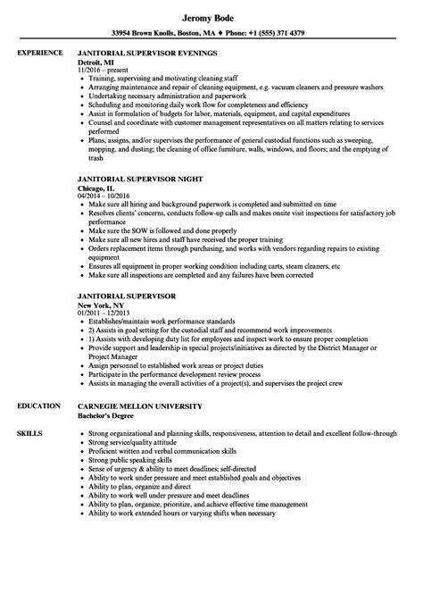 resume exles for janitorial supervisor janitorial supervisor resume sles velvet
