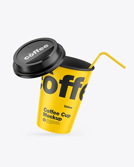 Free psd mockup to make a preview of your coffee logo design as realistic and naturally as possible. Matte Coffee Cup w/ Straw Mockup | Exclusive Mockups
