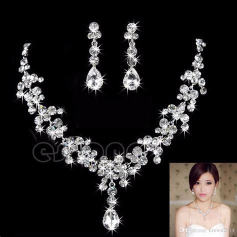 women fashion bridal rhinestone crystal drop necklace