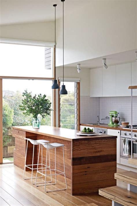 ilot cuisine bois cuisine avec îlot central 43 idées inspirations