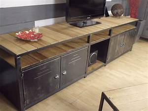 mobilier de style industriel micheli design With awesome meuble tv sur mesure design 5 meubles tv industriel et design style loft metal et bois