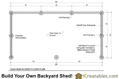 12x24 Shed Plans Materials List by 12x24 Run In Shed Plans