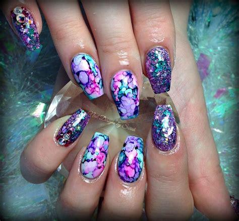 sharpie marbling acrylic nails coffin nails nails