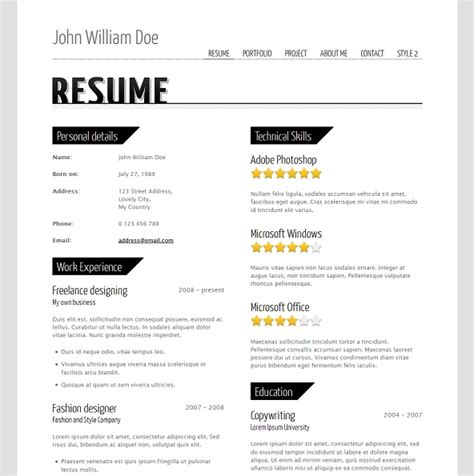 resume website templates free resume signs