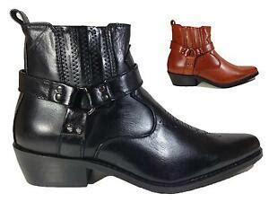 Nib Men Black Winter Cowboy Fashion Boots Sidezip Western