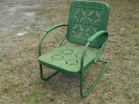 vintage primitive metal rocking chair garden porch